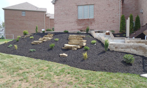 Rockscape with Black Mulch